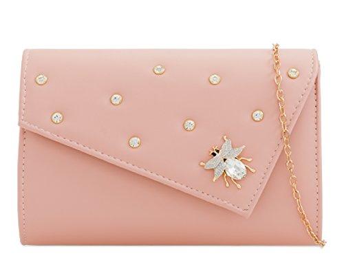 Insect Pink Clutch Handbag Diamante Stylish Fx Leather Women's KZ2281 Bag Ladies Evening InwaRqxxP