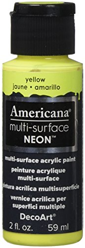 DecoArt Americana Multi-Surface Neon Paint, 2-Ounce, Yellow