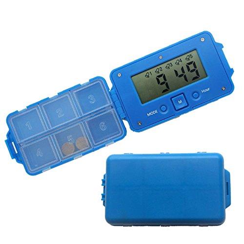 Portable 6 Compartments Alarm Clock Pill Dispenser Discoo Alarm Clock Pill Dispenser Pill Box Electronic Medication Reminder