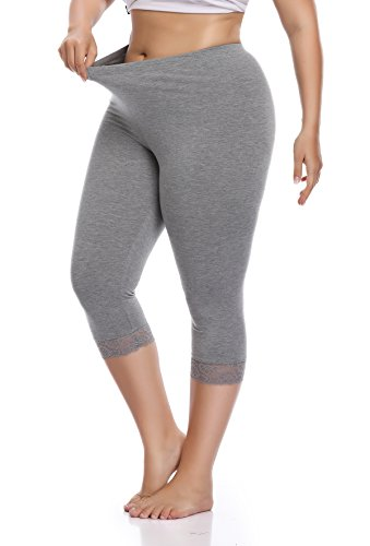 (Raddzo Women's Plus Size Cotton Capri Cropped Leggings Lace Trim Soft Tights Pants, Grey, XL)