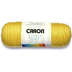 Caron Simply Soft Solids Yarn (4) Medium Gauge 100% Acrylic - - Lemonade - Machine Wash & Dry