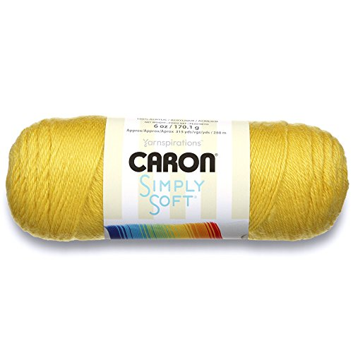 Medium Weight Gold Knit (Caron Simply Soft Solids Yarn (4) Medium Gauge 100% Acrylic -  - Yellow -  Machine Wash & Dry)