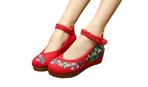 Avacostume Mujeres Embroidery Flower Casual Oxfords Vestido De Fiesta Exclusivo Zapatos Rojo