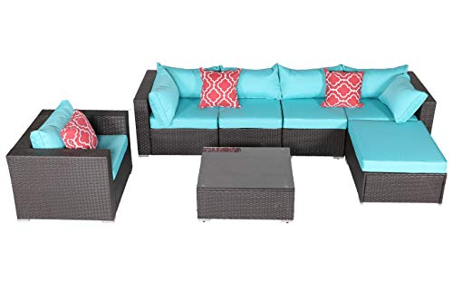 (Do4U 7 Pieces Outdoor Patio PE Rattan Wicker Sofa Sectional Furniture Set Conversation Set- Turquoise Seat Cushions & Glass Coffee Table| Patio, Backyard, Pool| Steel Frame (7555-EXP-TRQ))