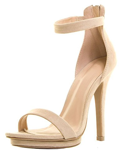 Cambridge Select Women's Single Band Open Toe Stretch Elastic Ankle Strappy Stiletto High Heel Sandal (7.5 B(M) US, Natural IMSU)