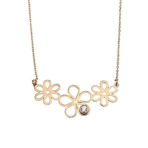 14k Yellow Gold Triple Open Flower Charm Cubic Zirconia Pendant Necklace, 16