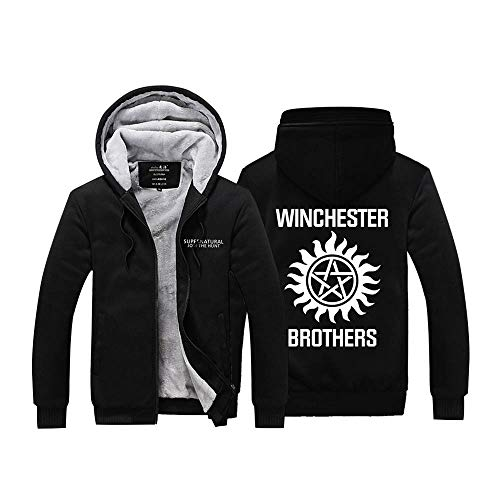 Winchester Jacket - Dean Sam Winchester Hunt Hoodie Thick Zipper Fleece Winter Jacket for Men (XX-Large, Black 1)