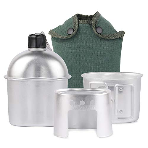 Lixada Military Canteen Kit,3Pcs Aluminum Canteen Cup Wood Stove Set with Cover Bag for Camping Hiking Backpacking