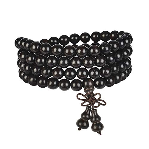 anzhongli mala Beads Bracelet 108 8mm Beaded Necklace Sandalwood Elastic (Gourd - Black Sandalwood)