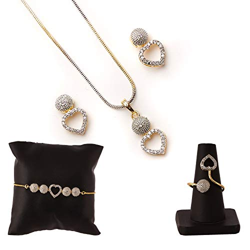 Zeneme Jewellery Set for Women American Diamond Necklace Set with Earrings, Bracelet and Ring Jewellery for Girls and…