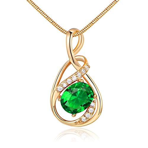 (GUICX Yellow Gold Tone Emerald Color CZ Cubic Zirconia Charm Green Necklaces Pendant)