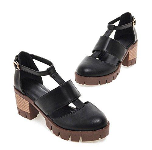 Aisun Da Donna Elegante Vintage A Punta Chiusa Fibbia Plateau Tacco Medio Sandali Con Cinturino Alla Caviglia Nero