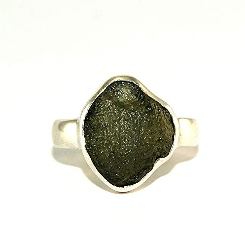 Moldavite Ring - Raw Rough - Polished Sterling Silver - R1803