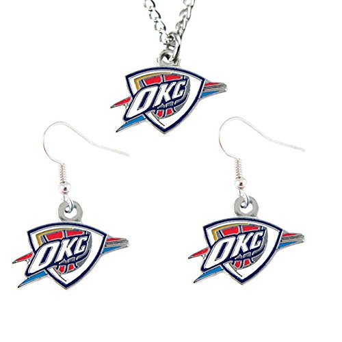 Oklahoma City Thunder Necklace And Dangle Earring Charm Set NBA [Misc.] by aminco
