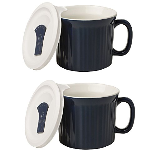 CorningWare Colours Pop-Ins 20oz Mug w/ Vented Lid 2 Pack Midnight Blue Deal (Large Image)