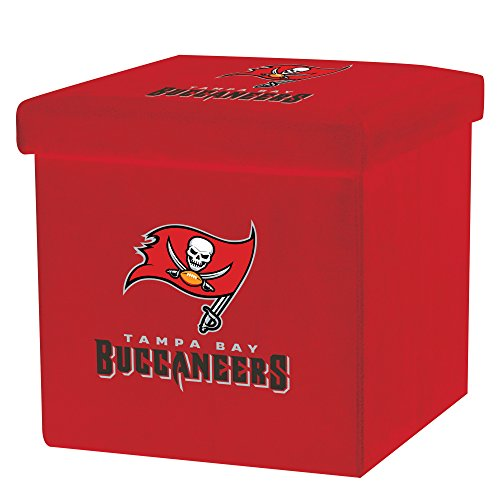 (Franklin Sports NFL Tampa Bay Buccaneers Storage Ottoman with Detachable Lid 14 x 14 x 14 - Inch )