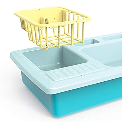 Luonita Color Changing Kitchen Sink Toys Play Kitchen Accessories Toy Pretend Sink Playset with Running Water and Plates Dishes Utensils Set House Pretend Role Play Toys for Kids Boys Girls (Blue): Home & Kitchen