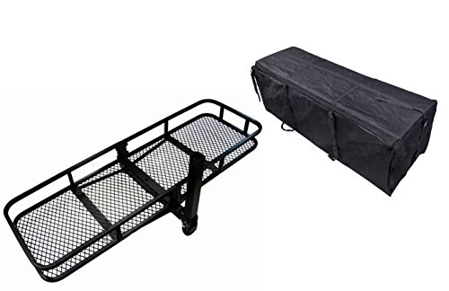 TMS 60inch x 20inch Hitch Mount Folding Cargo Carrier Basket w/ Weather-Resistant Luggage Bag by TMS