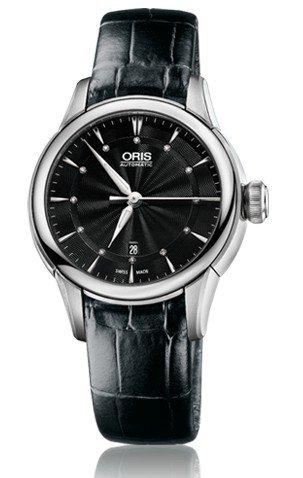 Oris Artelier Date Black Dial Black Leather Ladies Watch 01 561 7687 4094-07 5 14 60FC