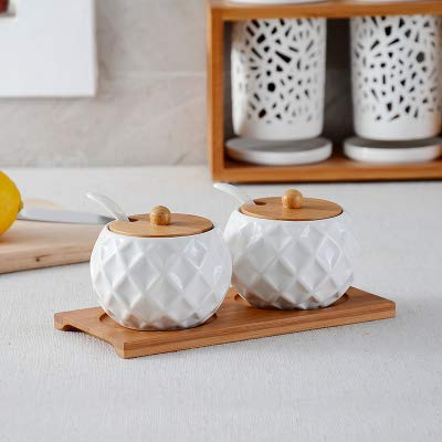 Herb & Spice Tools   Ceramic Condiments Jar Household Seasoning Box Wooden Tray Spice Jar Soy Sauce Pot Salt Sugar Single Can Kitchen Seasoning Tool   By ATUTI by ATUTI
