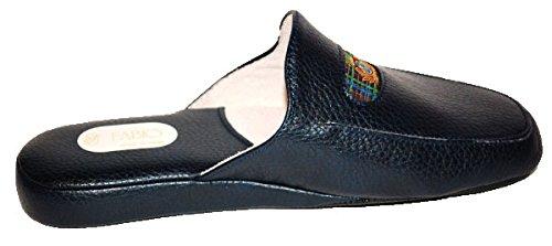 Pantuflas de invierno para hombre, zapatillas de estar por casa azules de piel, Fabio 0550 Azul