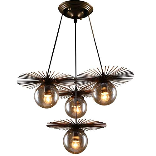 (Jiafum Metal Round Straw Hat Chandelier Pendant Glass lampshade Iron Art Personality Magic Bean Pendant Light (Available in Two Styles),4lampheads)