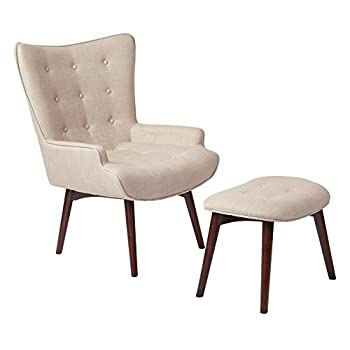 AVE SIX Dalton Tufted Back Chair with Solid Wood Legs and Matching Ottoman, Milford Toast