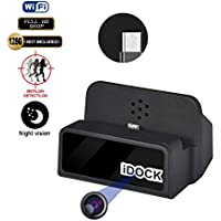 Fuvision Charging Station Hidden Camera WiFi with 20 Feet Invisible Night Vision 960P Motion Activated WiFi IP Camera and Invisible Camera Lens Android Smartphone Charger Hidden Cameras for Home
