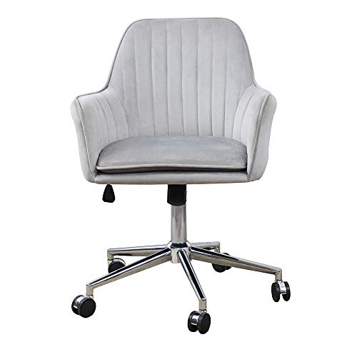ARDICO Home Office Chair with Middle Back, Modern Design Velvet Desk Task Chair with Arms in Study Bedroom (Grey)