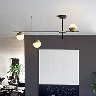 EDISLIVE 3-Light Chandelier Vintage Semi Flush Mount Ceiling Light Mid Century Modern Sputnik Light with Painted Finish with Glass Globes Black and Brass
