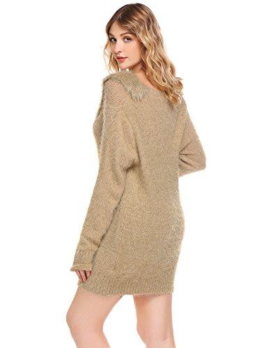 Damen Pullover Lang Winter Strickkleid Langarm Pulloverkleid Stretch  Winterkleider Oberteile  Amazon.de  Bekleidung c1e3715ae6