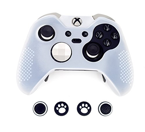Anti Slip Protective Cover (Taifond Anti-Slip Silicone Controller Cover Protective Skins for Microsoft Xbox One Controller with Four Thumb Grip Caps (White))