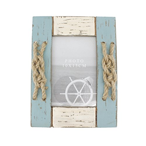 4x6 Inches Nautical Wood Picture Frame with Jute Rope Decoration (Blue (Nautical Rope Centerpiece)
