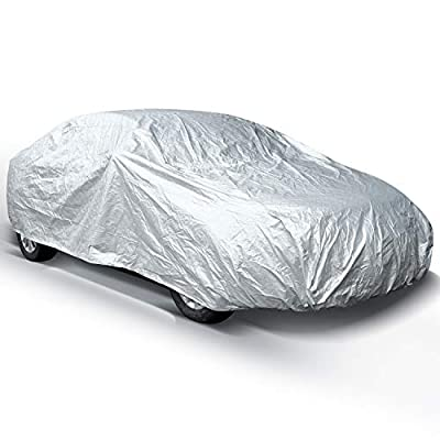 Car Covers for Sedan Outdoor, Ohuhu Upgrade Auto Vehicle Cover Waterproof Windproof Dustproof Scratch Resistant Outdoor UV Protection Universal Full Size Dual Layer Car Cover for Sedan L (191''-201'')
