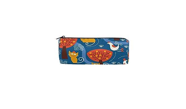 Bonipe - Estuche para lápices, diseño de animales del bosque de dibujos animados y gatos, para la escuela, artículos de papelería, estuche con cremallera, bolsa de maquillaje: Amazon.es: Oficina y papelería