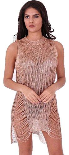 Damen Metallic Chain Knit Distressed Ladder Pullover Kleid EUR Größe 36-42 Gold 5V7qKjKK