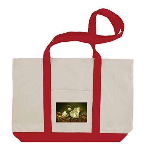 Magnolias Gold Velvet Cloth (Mj Heade) Cotton Canvas Boat Tote Bag - Red ()
