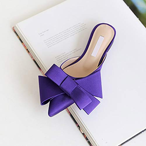- 2019 Spring and Summer Women's Shoes Korean Satin Silk Pointed Bow tie Indoor Baotou Flat Heel Set Selling Slippers