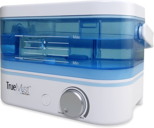 TrueMist Top Fill Cool Mist Humidifier – Easy Clean, Easy Fill, No Mess, White/Blue