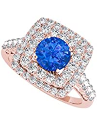 September Birthstone Sapphire and CZ Ring 2.00 CT TGW