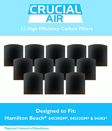 Price comparison product image 12 Crucial Air Replacement Carbon Filters for Hamilton Beach True Air Odors 04530GM 04532GM 04383 04531GM 04530F 04532GM 04251 04271 04530 04530F HAP201 Part 04294
