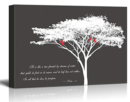 767f1739b7b wall26 - Canvas Wall Art - Abstract Tree and Birds on its Branches with  Bible Quotes