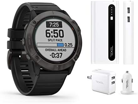 Garmin Fenix 6X Pro Solar Titanium Carbon Gray DLC with Black Band, Premium Multisport GPS Watch 010-02157-20 and Texel 10,000mAh Portable Battery Pack, Wall and Car Charger Bundle