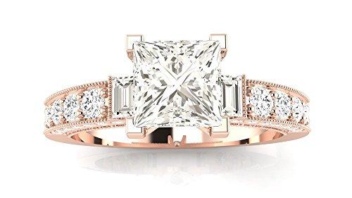 (2.58 Ctw 14K Rose Gold GIA Certified Princess Cut Gorgeous Prong Set Round And Half Bezel Baguette Diamond Engagement Ring, 2 Ct G-H VVS1-VVS2 Center)