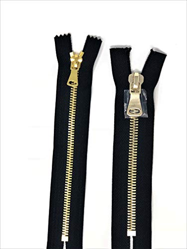 - Black Glossy Pocket Zipper Brass Teeth 5MM or 8MM in 7 inches Closed Non Separating