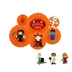 Description: ❤ Halloween decoration set. It includes: 6 paper fan flowers and 9 paper cards. (You can DIY free combination) ❤ Hanging on a wall, a tree, curtain, a door or as an individual element to add glamorous color and texture and create...