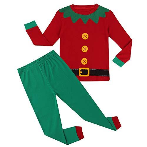 Hsctek Christmas Pajamas Set, Children Long Sleepwear Pjs, Kids Warm Cotton Clothes(Santa's Helper Elf 1, 3T) -