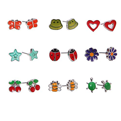 Childrens Butterfly Earrings (Unique Queen 9 Pairs Cute Fruit Animal Stainless Steel Stud Earring Sets For Girls kids hypoallergenic)
