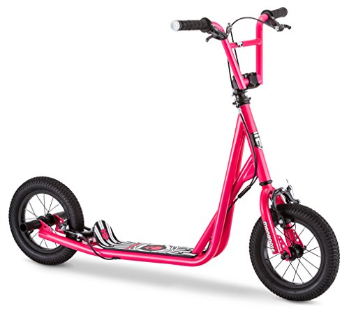 Mongoose Expo Scooter, Featuring Front and Rear Caliper Brakes and Rear Axle Pegs with 12-Inch Inflatable Wheels, Pink/Black ()