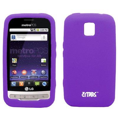 EMPIRE Purple Silicone Skin Case Tasche Hülle Cover + Mirror Displayschutzfolie Film + Auto Charger (CLA) for MetroPCS LG Optimus M MS690